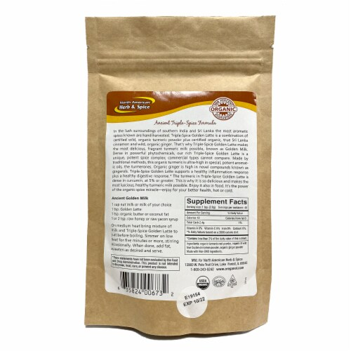North American Herb and Spice TurmaMilk Wild & Organic Golden Milk Mix, 4.6 Ounces Perspective: back