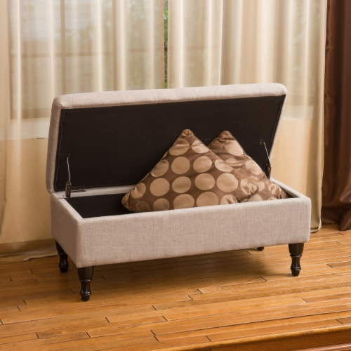 Logan Grey Fabric Storage Ottoman Bench Perspective: back