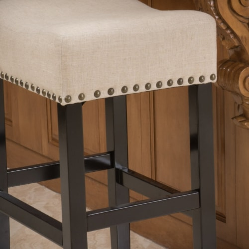 Chantal 30-Inch Beige Linen Fabric Bar Stools (Set of 2) Perspective: back