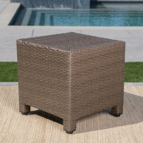 Venice Outdoor Light Brown Wicker Side Table Perspective: back