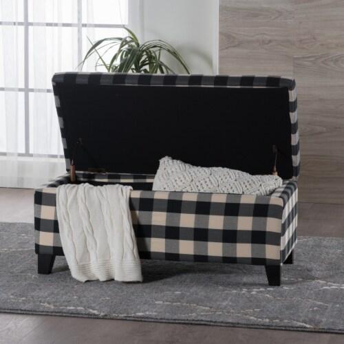 Brianna Black & White Checker Fabric Storage Ottoman Perspective: back