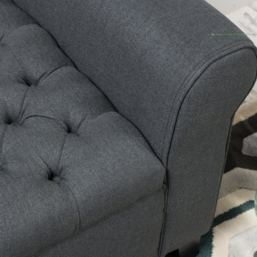 Charlemagne Dark Grey Fabric Armed Storage Bench Perspective: back