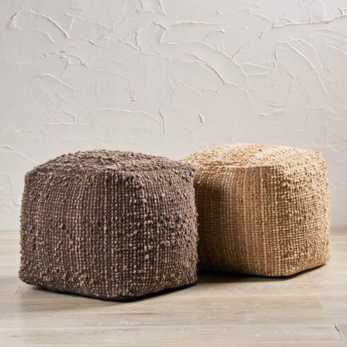 Beso Beige Wool Fabric Artisan Cube Pouf Perspective: back
