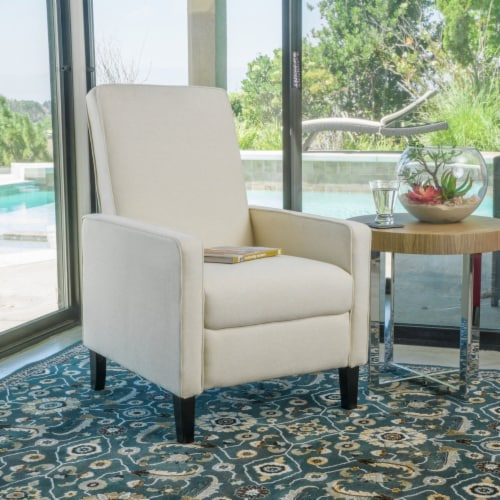 Olinda Contemporary Beige Fabric Recliner Chair Perspective: back