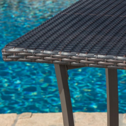 Cait 40-Inch Brown Outdoor Wicker Bar Table Perspective: back