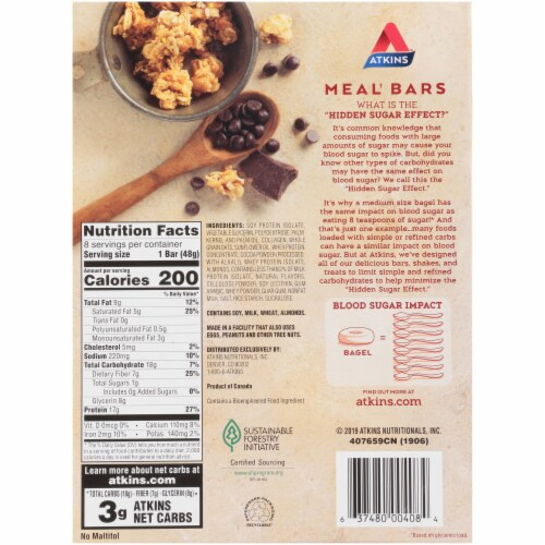 Atkins® Chocolate Chip Granola Meal Bars Perspective: back