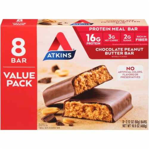 Atkins Chocolate Peanut Butter Meal Replacement Bars Perspective: back
