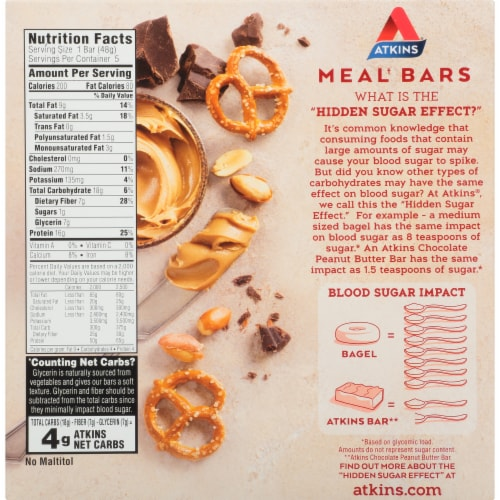 Atkins Advantage Protein-Rich Chocolate Peanut Butter Pretzel Meal Bars 5 Count Perspective: back