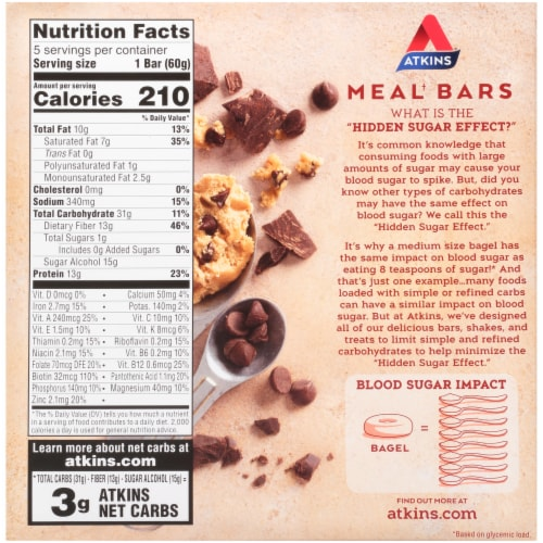 Atkins Advantage Protein-Rich Chocolate Chip Cookie Dough Meal Bars 5 Count Perspective: back