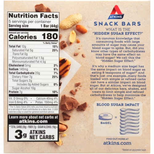 Atkins Caramel Chocolate Nut Roll Bars 5 Count Perspective: back
