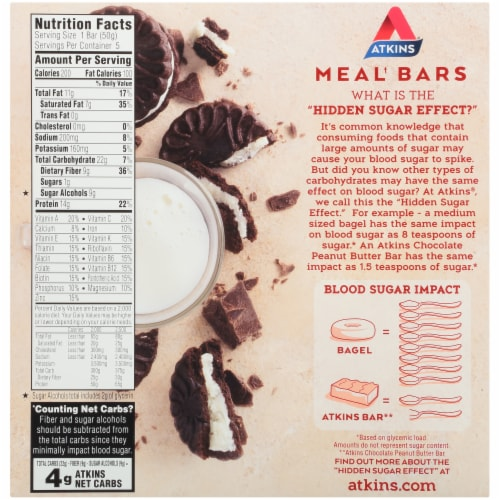 Atkins Cookies & Cream Protein-Rich Meal Bars 5 Count Perspective: back