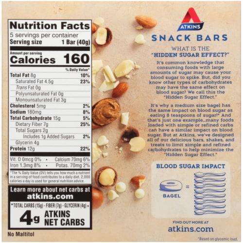 Atkins White Chocolate Macadamia Nut Snack Bars Perspective: back
