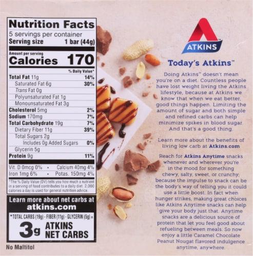 Atkins Caramel Chocolate Peanut Nougat Bars 5 Count Perspective: back