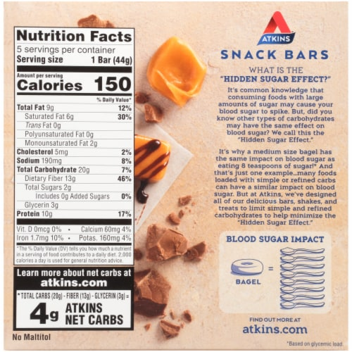 Atkins® Caramel Double Chocolate Crunch Bars Perspective: back