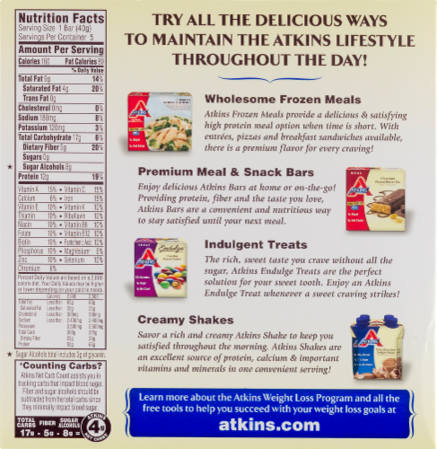 Atkins Triple Chocolate Snack Bars 5 Count Perspective: back