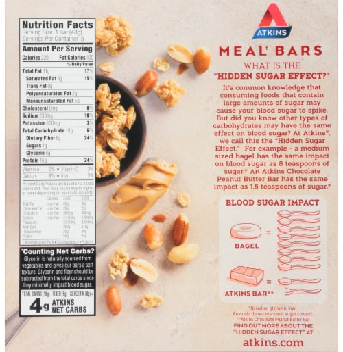 Atkins Advantage Peanut Butter Granola Bars Perspective: back