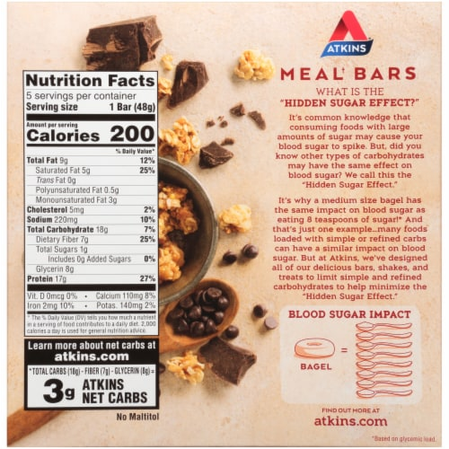 Atkins Protein-Rich Chocolate Chip Granola Meal Bars Perspective: back