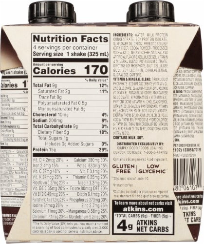 Atkins® Mocha Latte Protein-Rich Shakes Perspective: back