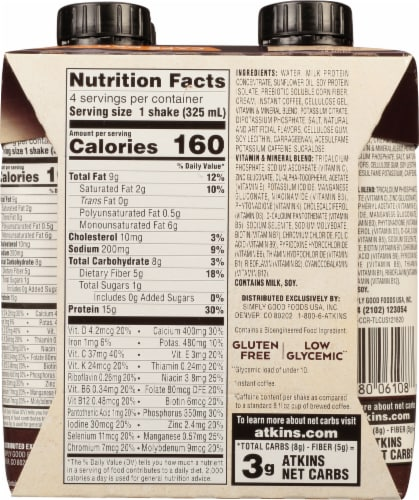 Atkins® Cafe Caramel Protein-Rich Shakes Perspective: back