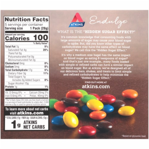 Atkins Endulge Chocolate Candies Perspective: back
