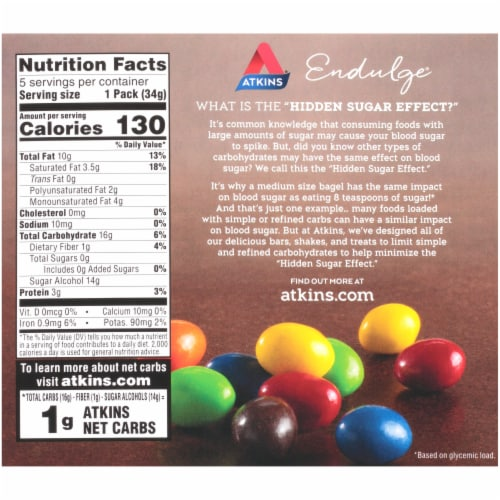Atkins Endulge Chocolate Peanut Candy Packs Perspective: back