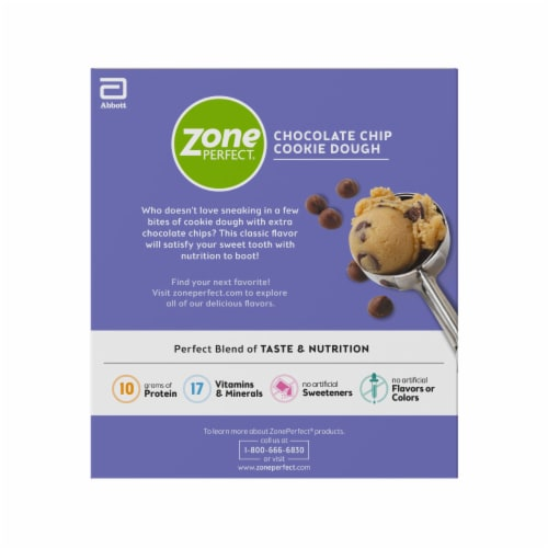 ZonePerfect® Chocolate Chip Cookie Dough Protein Bars Perspective: back