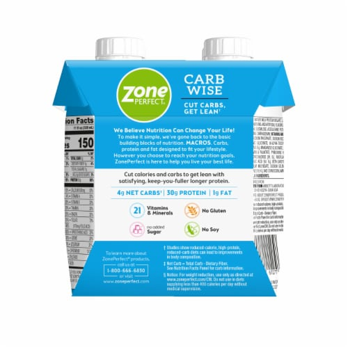 ZonePerfect Carb Wise Vanilla Ice Cream Protein Shakes Perspective: back