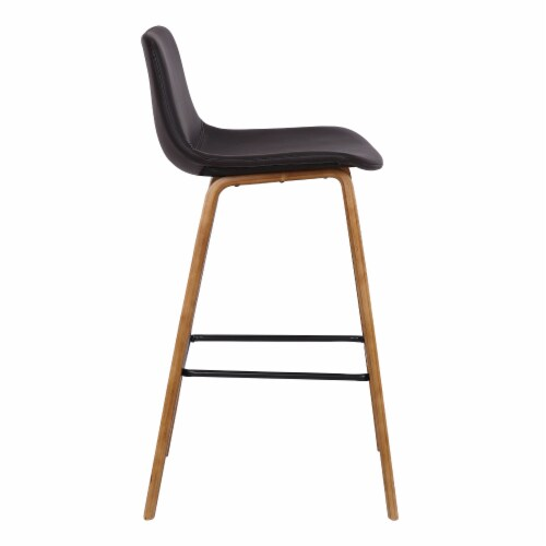 Armen Living Maddie 25.5 H Faux Leather Counter Stool in Walnut and Brown Perspective: back