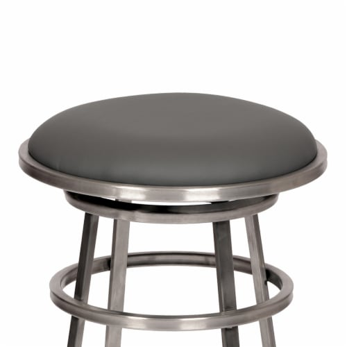 Armen Living Ringo 26  Backless Brushed Stainless Steel Barstool in Gray Faux Leather Perspective: back