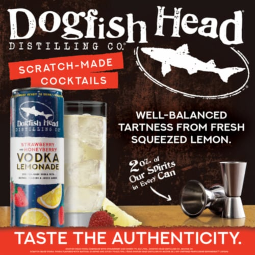 Dogfish Head Strawberry and Honeyberry Vodka Lemonade Perspective: back