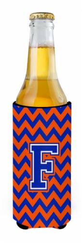 Letter F Chevron Orange and Blue Ultra Beverage Insulators for slim cans Perspective: back