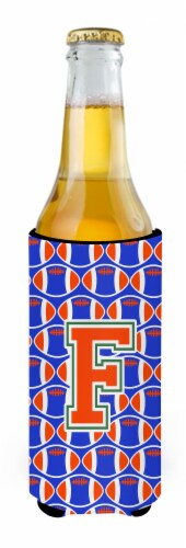 Letter F Football Green, Blue and Orange Ultra Beverage Insulators for slim cans Perspective: back