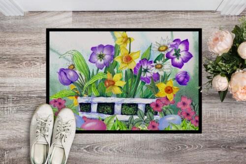 Carolines Treasures  PJC1099MAT Finding Easter Eggs Indoor or Outdoor Mat 18x27 Perspective: back