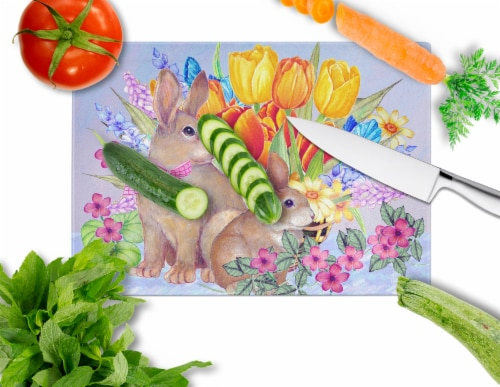 New Beginnings II Easter Rabbit Glass Cutting Board Large Perspective: back