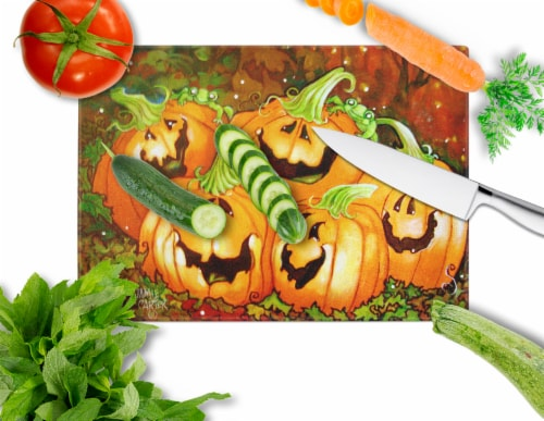 Such a Glowing Personality Pumpkin Halloween Glass Cutting Board Large Perspective: back