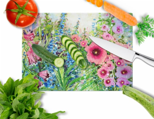 Easter Garden Springtime Flowers Glass Cutting Board Large Perspective: back