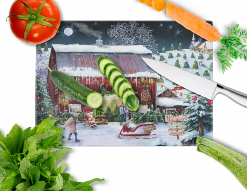 Carolines Treasures  PTW2002LCB Christmas Tree Farm Glass Cutting Board Large Perspective: back