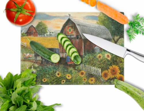 Sunflower Country Paradise Barn Glass Cutting Board Large Perspective: back