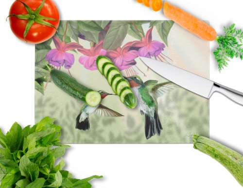 Fuchsia and Hummingbirds Glass Cutting Board Large Perspective: back