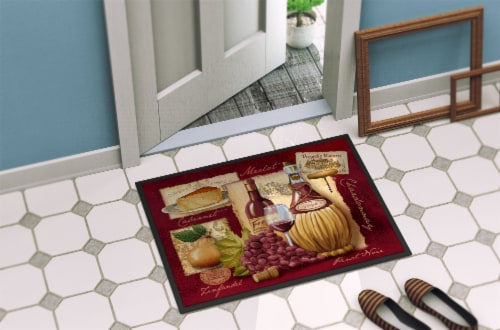 Carolines Treasures  PTW2046MAT Wine and Cheese Indoor or Outdoor Mat 18x27 Perspective: back