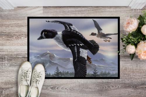 Goldeneye Ducks Flying Indoor or Outdoor Mat 24x36 Perspective: back