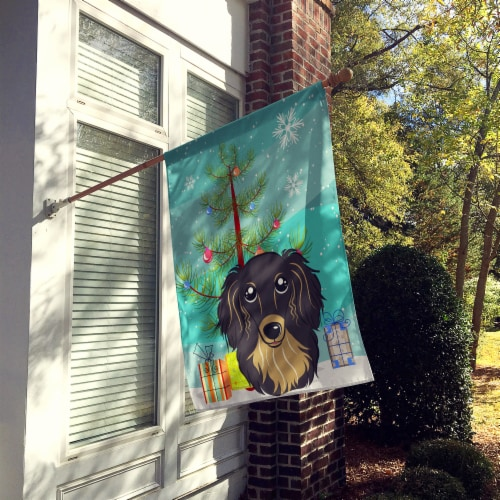 Christmas Tree and Longhair Black and Tan Dachshund Flag Canvas House Size Perspective: back