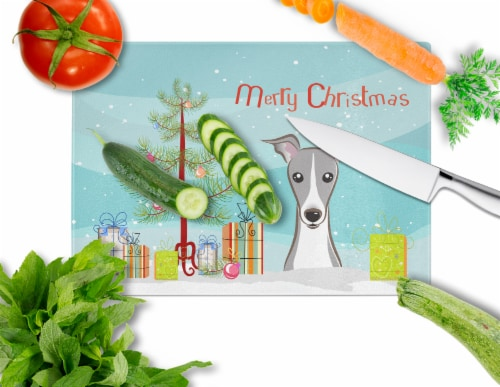 Christmas Tree and Italian Greyhound Glass Cutting Board Large Perspective: back