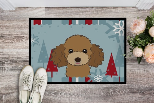 Winter Holiday Chocolate Brown Poodle Indoor or Outdoor Mat 24x36 Perspective: back