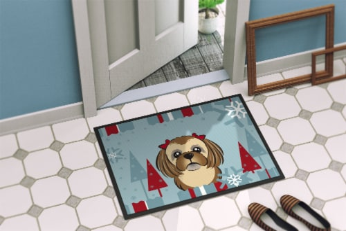 Winter Holiday Chocolate Brown Shih Tzu Indoor or Outdoor Mat 18x27 Perspective: back