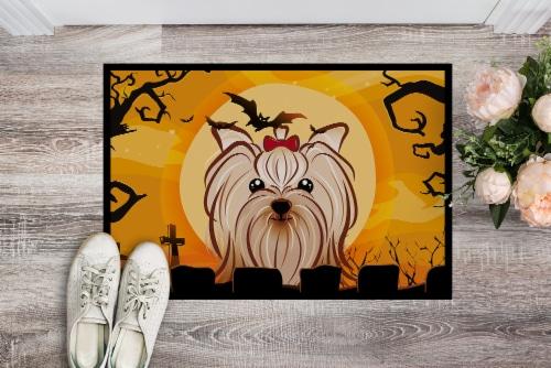 Halloween Yorkie Yorkishire Terrier Indoor or Outdoor Mat 24x36 Perspective: back