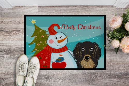Snowman with Longhair Black and Tan Dachshund Indoor or Outdoor Mat 24x36 Perspective: back
