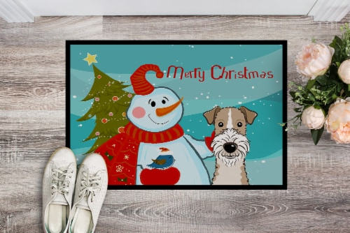 Snowman with Wire Haired Fox Terrier Indoor or Outdoor Mat 24x36 Perspective: back