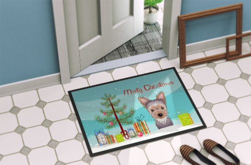 Christmas Tree and Yorkie Puppy Indoor or Outdoor Mat 18x27 Perspective: back