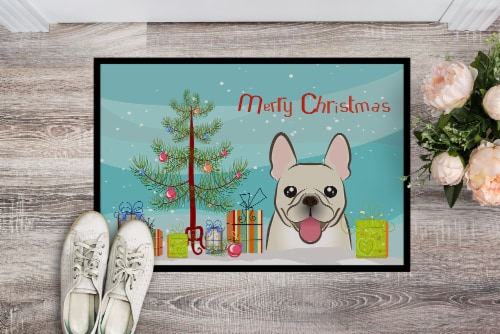 Christmas Tree and French Bulldog Indoor or Outdoor Mat 24x36 Perspective: back